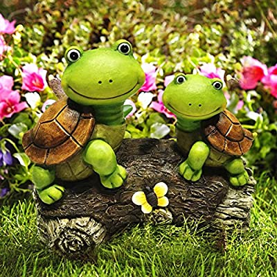 LA JOLIE MUSE Garden Statue Figures Turtles on a Log, 9 Inch Large Resin, Patio Lawn yard Indoor Outdoor Decorations, Gift for Dad (Turtle)