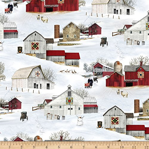 Elizabeth's Studio Headin' Home Barns Allover Snow Fabric by the Yard ()