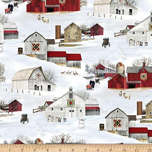 Elizabeth's Studio Headin' Home Barns Allover Snow Fabric by the Yard