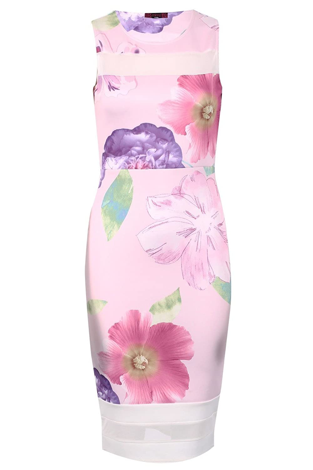Ladies Floral Mesh Insert Midi Dress US Size 6-12