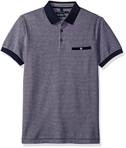 French Connection Men's Short Sleeve Regular Fit Polo With Pocket, Marine Blue/Red Rock, M