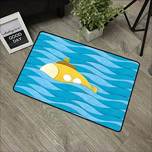 (Bathroom Door mat W24 x L35 INCH Yellow Submarine,Illustration of a Submarine Over The Sea Paper Cutting Style Print,Blue and Mustard with Non-Slip Backing Door Mat Carpet)