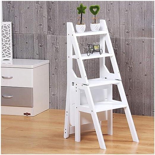 KXBYMX La Escalera Escalera Plegable Multifuncional para el hogar, Escalera de Cuatro peldaños, Taburete de bambú Grueso, Taburete para niños. (Color : Blanco): Amazon.es: Hogar