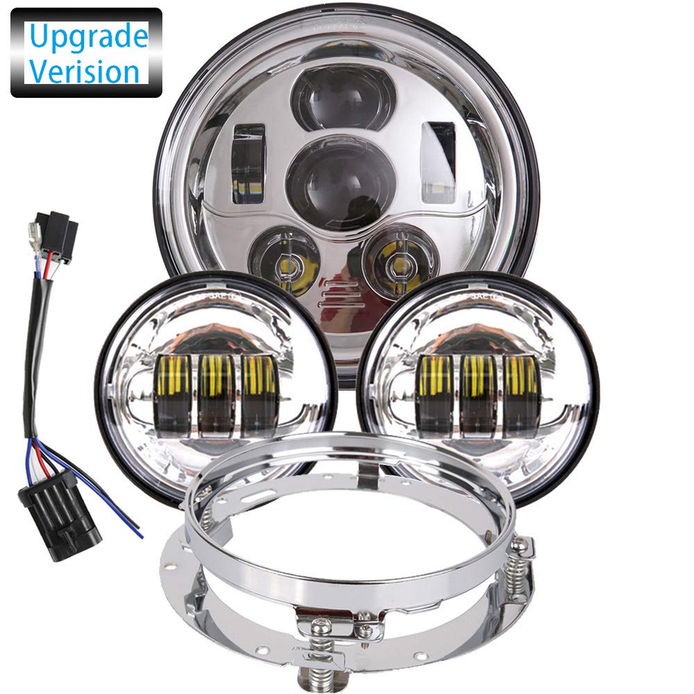 TRUCKMALL 7 inch LED Headlight 4.5 inch Fog Passing Lights DOT Kit Set Ring Motorcycle Headlamp for Harley Davidson Road King Ultra Classic Electra Street Glide Tri Cvo Heritage Softail Deluxe Fatboy Chrome
