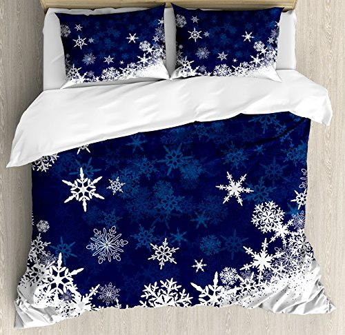 Lunarable Snowflake Duvet Cover Set, Winter Theme Christmas Illustration Cold Weather Season Inspired Celebration, Decorative 3 Piece Bedding Set with 2 Pillow Shams, Queen Size, Indigo White