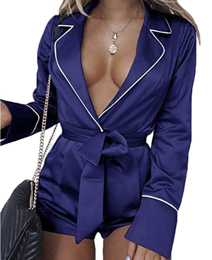 5b98ae43525a muicPD3ryzx Rompers and Jumpsuits for Women Deep V Neck Silk Satin Pajamas  Long Sleeve Shirt Sleepwear