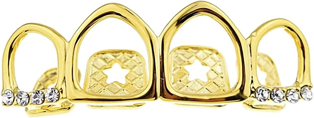 Bling Cartel 14k Gold Plated Four Open Face Tooth Grillz Iced Upper Row Top Teeth Hip Hop Mouth Grills