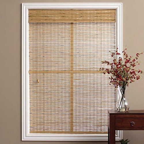 1 Piece 74''W x 74''L Light Brown Ochre Tan Natural Wood Pull Up Bamboo Blind. Eco Friendly Rustic Roman Country Horizontal Slat With Built In Valance Nature Window Treatment Allows Gentle Sunlight