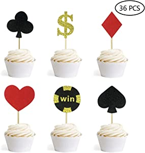 Glitter Poker Heart Cupcake Toppers Playing Cards Muffin Cake Fruit Picks Casino Party Decor 36 PCS