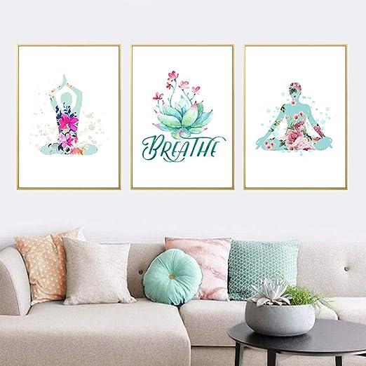ZJMI Impresión De Lienzo,Yoga Abstracta Decoración ...