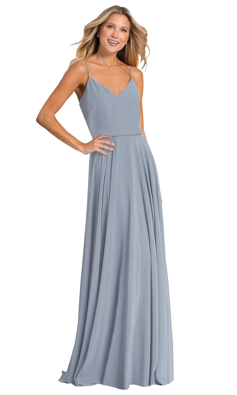 7454c5d9e4 Yilis Women's A-line Long Bridesmaid Dress V-Neck Spaghetti Strap Chiffon  Wedding Party Dress Dusty Blue US4