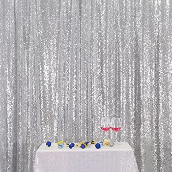 Silver PartyDelight Sequin Backdrop, Photography, Christmas Backdrop, 4x6 Ft