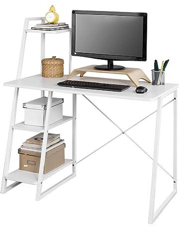 SoBuy Mesa de Escritorio, Mesa de Ordenador con Tres Estantes,Color Blanco,FWT29