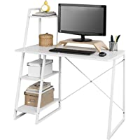 SoBuy FWT29-W Schreibtisch(102x50x75/117cm), Computertisch, Arbeitstisch mit 3 Ablageflächen, weiß (Ohne Stuhl)