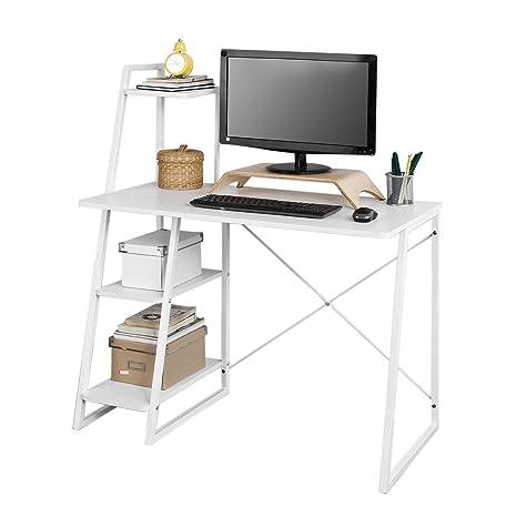 SoBuy Mesa de Escritorio, Mesa de Ordenador con Tres Estantes,Color Blanco,FWT29-W,ES (Mesa)