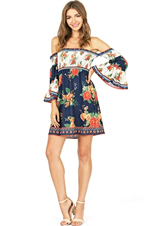 1f7c8ee6601a6c Flying Tomato Women s Juniors Floral Off The Shoulder Smocked Dress ...