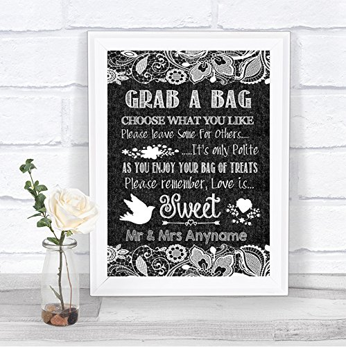 Dark Grey Burlap Lace Effect Candy Buffet Cart Sweets Personalized Wedding (Candy Effects)