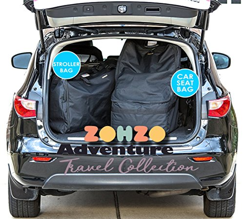 ZOHZO Car Seat Travel Bag — Adjustable, Padded Backpack for Car Seats — Car Seat Travel Tote — Save Money, Make Traveling Easier — Compatible with Most Name Brand Car Seats (Black with Black Trim) by Zohzo (Image #7)