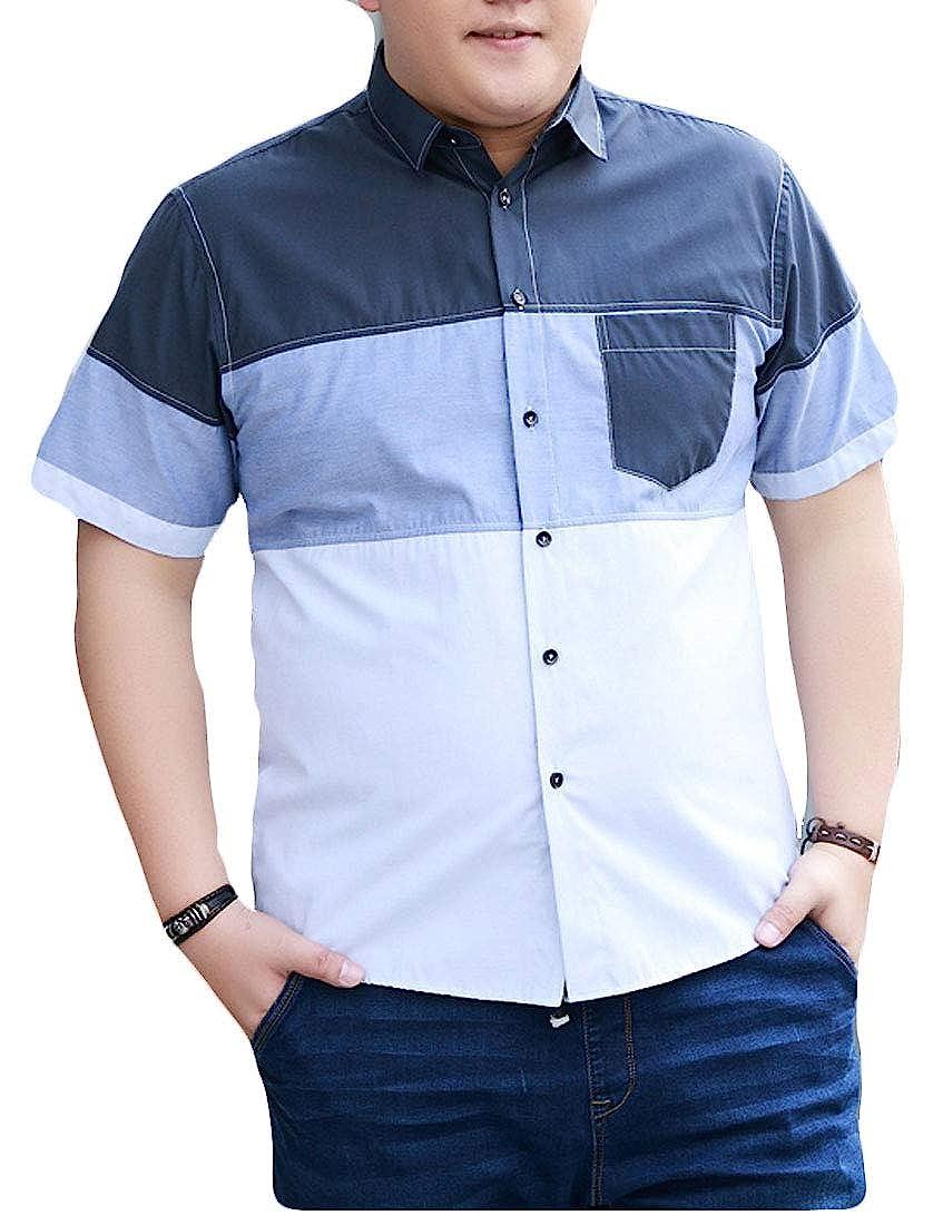 TeapO Mens Short Sleeve Color Block Loose Summer Shirt Plus Size