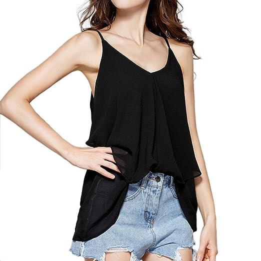 Verano Camisetas De Mujer 💝 Yesmile Mujer de La Señora Summer Chiffon Sling Casual Sin Mangas
