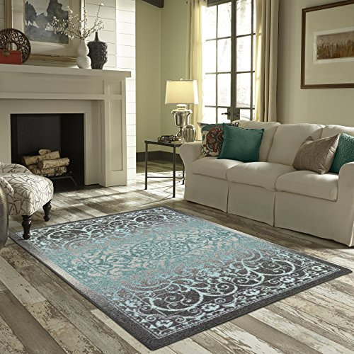 Maples Rugs Area Rugs - Pelham 7 x 10 Non Slip Large Rug [Made in USA] for Living Room, Bedroom, and Dining Room, Grey/Blue