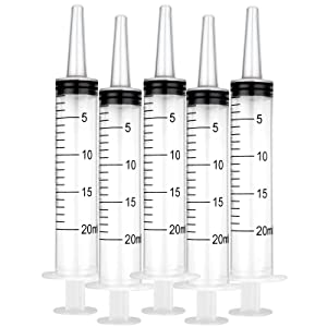 Syringes Without Needle, Large Plastic Syringe for Pet Feeding, Lip Gloss Tool, Dispensing & Measuring in Lab, Refilling Liquid & Oil, Watering Plants, Jello Shot Syringes (20ml, 1pack (5 Pieces))
