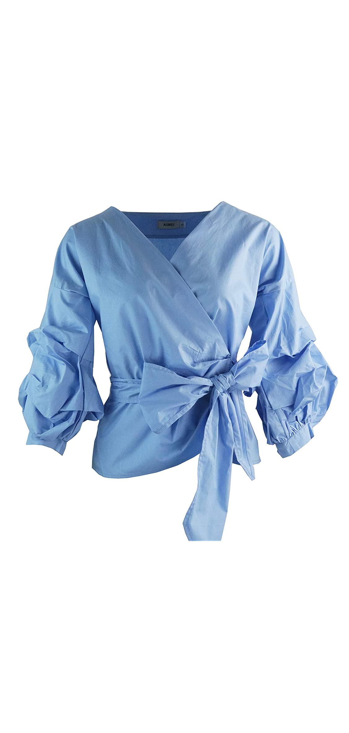 Women Spring Summer Blouses With Puff Sleeve Sashes Shirts