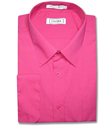 Men&39s Solid Hot Pink Fuchsia Color Dress Shirt w/ Convertible ...