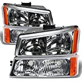 Best Headlight For Replacements - Chevrolet Silverado Chrome 4-Piece Headligths Set w/Light Smoke Review