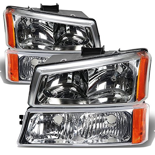 HEADLIGHTSDEPOT Chrome Housing Halogen 4 Piece Headlights Set with Running Lights Compatible with Chevrolet GMC Sierra 2500 HD Classic 3500 Silverado 1500 Includes Left and Right Side ()