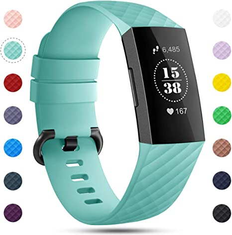 Imagen deOnedream Correa Compatible para Fitbit Charge 3 Pulsera y Charge 4 Correa Mujer Hombre Strap Recambio Sport Band (sin Reloj), S / L
