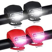 Nasharia [Lot de 4 Lampe de Vélo Avant et Arrière, 2 Blanc et 2 Rouge LED Super Imperméable pour VTT, VTC, Bicyclette,Fauteuil Roulant,Poussette ect.(Montage Facile sans Outil   Contains Piles)