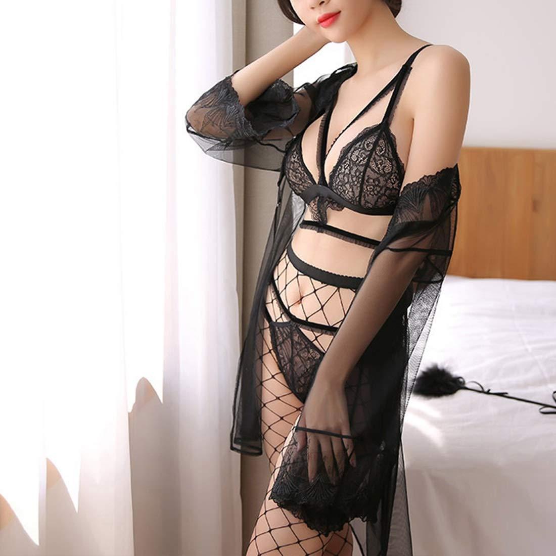 FELICIKK FELICIKK FELICIKK Lencería Sexy Negra Bragas de Sujetador Sexy con Medias de rojo Blusa de Encaje Hueco Body para Mujeres (Color : negro, Size : One Size) 7f6e5d