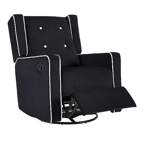 Astounding Naomi Home Odelia Swivel Rocker Recliner Black Microfiber Ibusinesslaw Wood Chair Design Ideas Ibusinesslaworg
