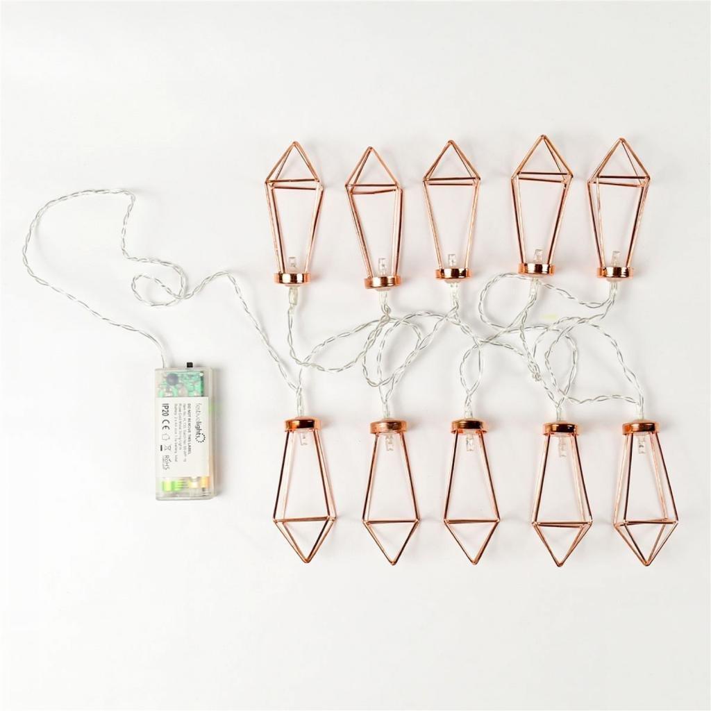 10 luces LED de hada de metal dorado rosa con forma de diamante para boda fiesta interior y exterior blanco c/álido funciona con pilas Navidad MagiDeal