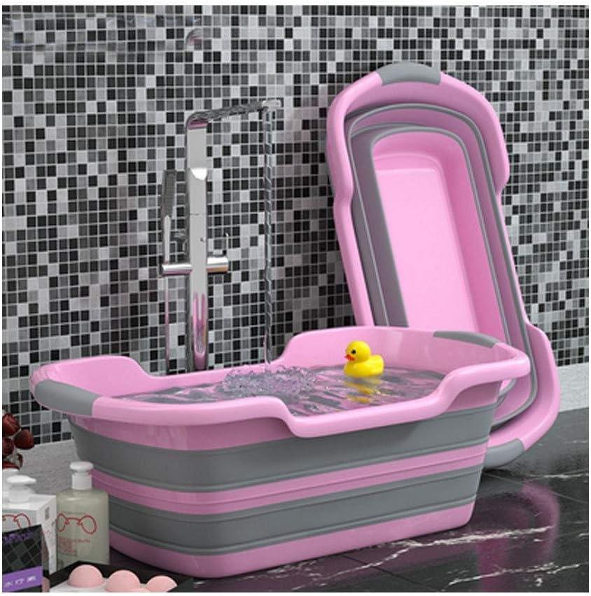 Estanque De Agua o bañera de plástico para perros y gatos de color rosa y gris, plegable llena de agua, con patito de goma, en cuarto de baño
