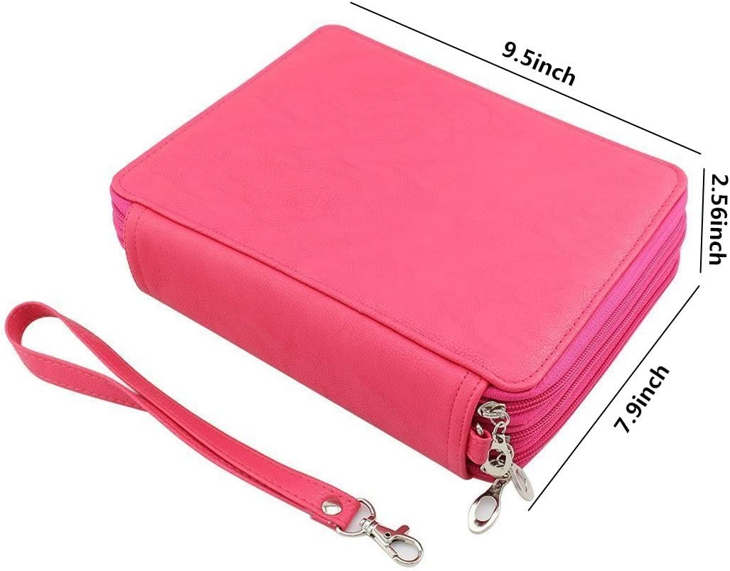 124 Slots Shulaner Colored Pencil Case Organizer PU Leather Large Capacity Portable Pencil Bag