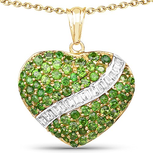 - 925 Sterling Silver & 14K Yellow Gold Plated Genuine Chrome Diopside and White Topaz Pendant (4.51 Carat)