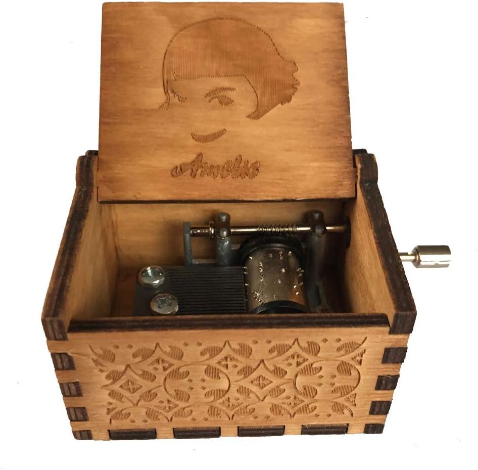 Caja de música de manivela de madera tallada antigua, caja musical ...