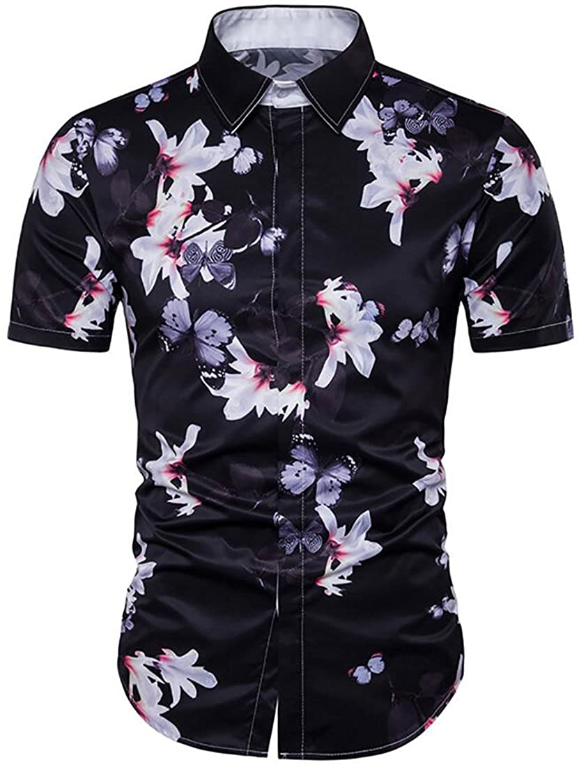 SYTX Mens Relaxed Fit Short Sleeve Butterfly Print Button Front Beach Blouse  Shirts at Amazon Men s Clothing store  32ce703e3