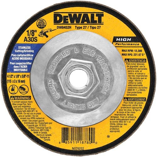 (DEWALT DW8452H T27 Stainless Steel Cutting/Grinding Wheel, 5/8-11 Arbor, 4-1/2-Inch by)