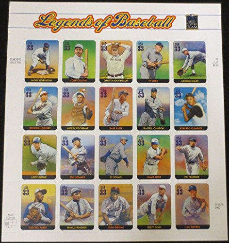 Legends of Baseball, Full Sheet of 20 x 33-Cent Postage Stamps, USA 2000, Scott - Jimmie Sunglasses