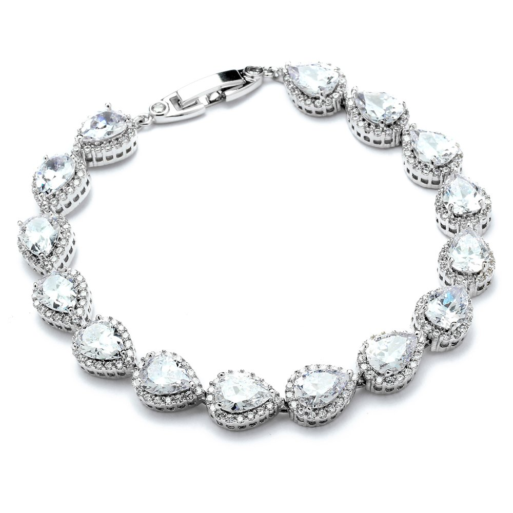 Mariell Platinum Plated Tennis Bracelet with Pear-Shaped Cubic Zirconia Halos for Brides, Wedding & Prom by Mariell
