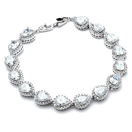 Mariell 6 1 2 CZ Wedding Bridal Tennis Bracelet with Pear-Shaped Halos – Petite Size for Smaller Wrist