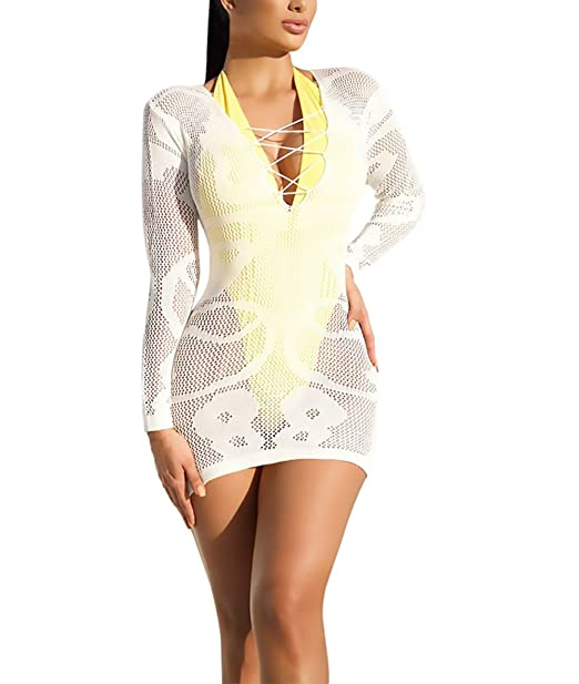 71fc1a54770b Vestidos Mujer Elegantes Vestidos Playa Tejer Manga Larga V Cuello ...