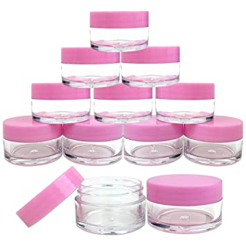 b8bb0b021c22 Beauticom 12 Pieces 20G/20ML Round Clear Jars with Pink Lids for Lotion,  Creams, Toners, Lip Balms,...