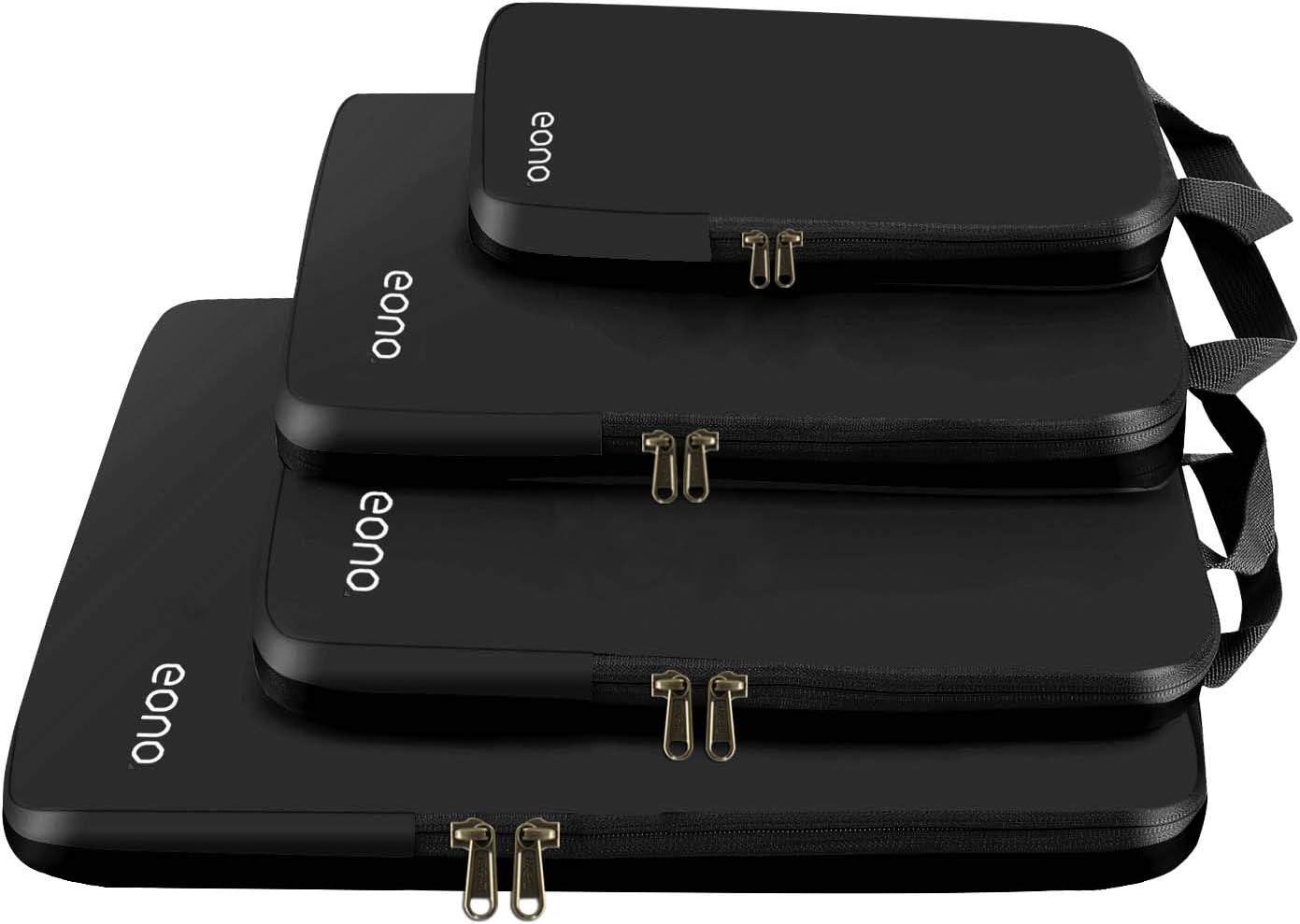 Eono by Amazon - Organizadores de Viaje de compresión expandibles, Impermeable Organizador para Maletas, Organizador de Equipaje, Cubos de Embalaje, Compression Packing Cubes, Negro, 4 Set