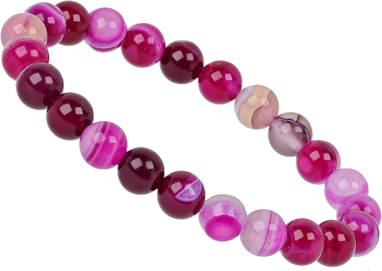 ELEDORO PowerBead - Pulsera elástica de perlas para mujer, 8 mm, 17-18 cm