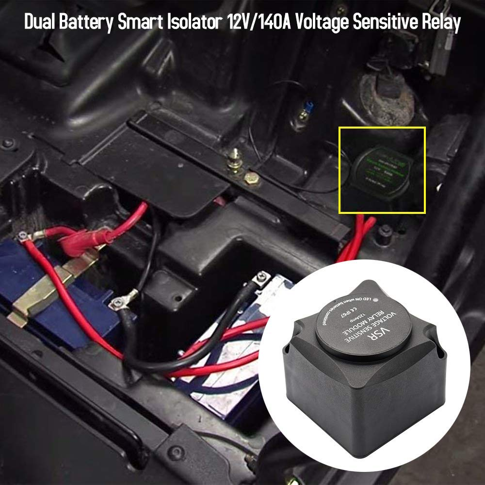 Voltage Sensitive Relay /& Wiring Cable Kit VSR 12V 140A Dual Battery Isolator