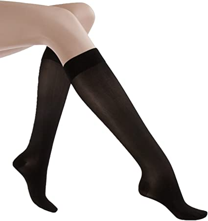 Amazon Com Jobst 119423 Ultrasheer Womens Knee High Moderate Compression Stockings Large Black Health Personal Care